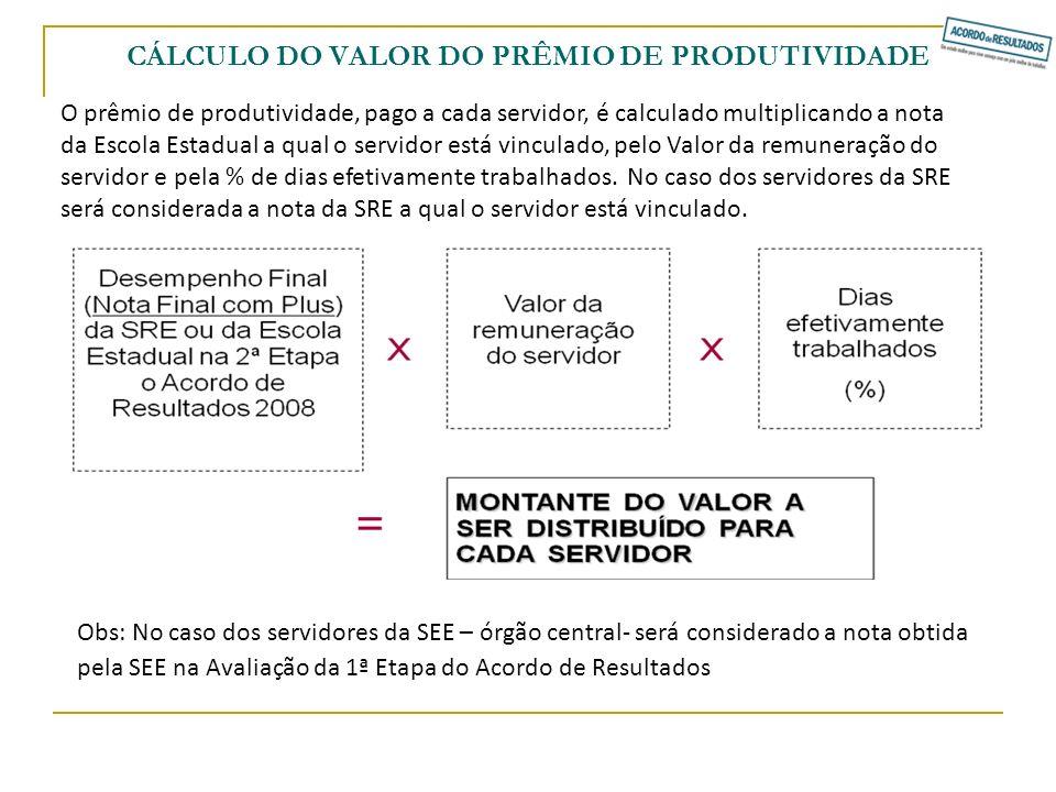 CÁLCULO DO VALOR DO PRÊMIO DE PRODUTIVIDADE O prêmio de produtividade, pago a cada servidor, é calculado multiplicando a nota da Escola Estadual a qua