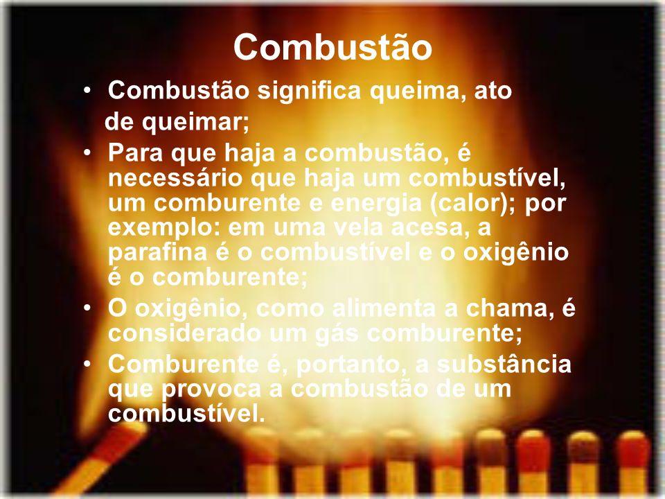 Combustão Combustão significa queima, ato de queimar; Para que haja a combustão, é necessário que haja um combustível, um comburente e energia (calor)