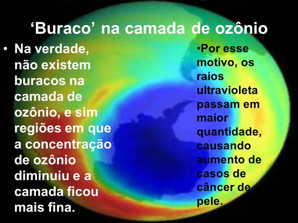 Buraco na camada de ozônio Na verdade, não existem buracos na camada de ozônio, e sim regiões em que a concentração de ozônio diminuiu e a camada fico