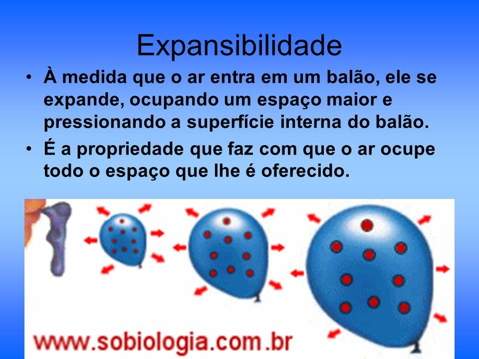 Expansibilidade À medida que o ar entra em um balão, ele se expande, ocupando um espaço maior e pressionando a superfície interna do balão. É a propri