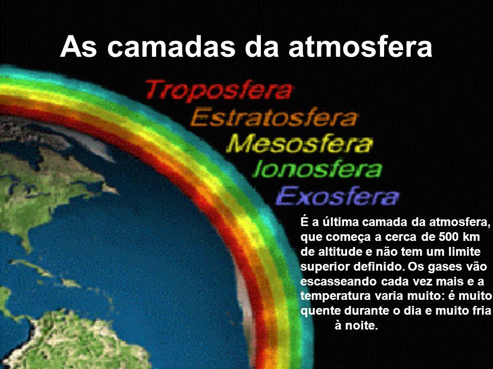 As camadas da atmosfera É a última camada da atmosfera, que começa a cerca de 500 km de altitude e não tem um limite superior definido. Os gases vão e