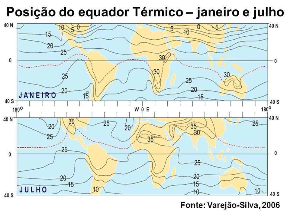 Posição do equador Térmico – janeiro e julho Fonte: Varejão-Silva, 2006