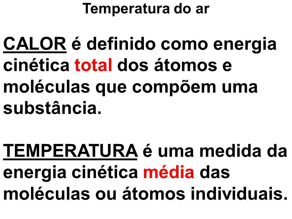 CALOR é definido como energia cinética total dos átomos e moléculas que compõem uma substância. TEMPERATURA é uma medida da energia cinética média das