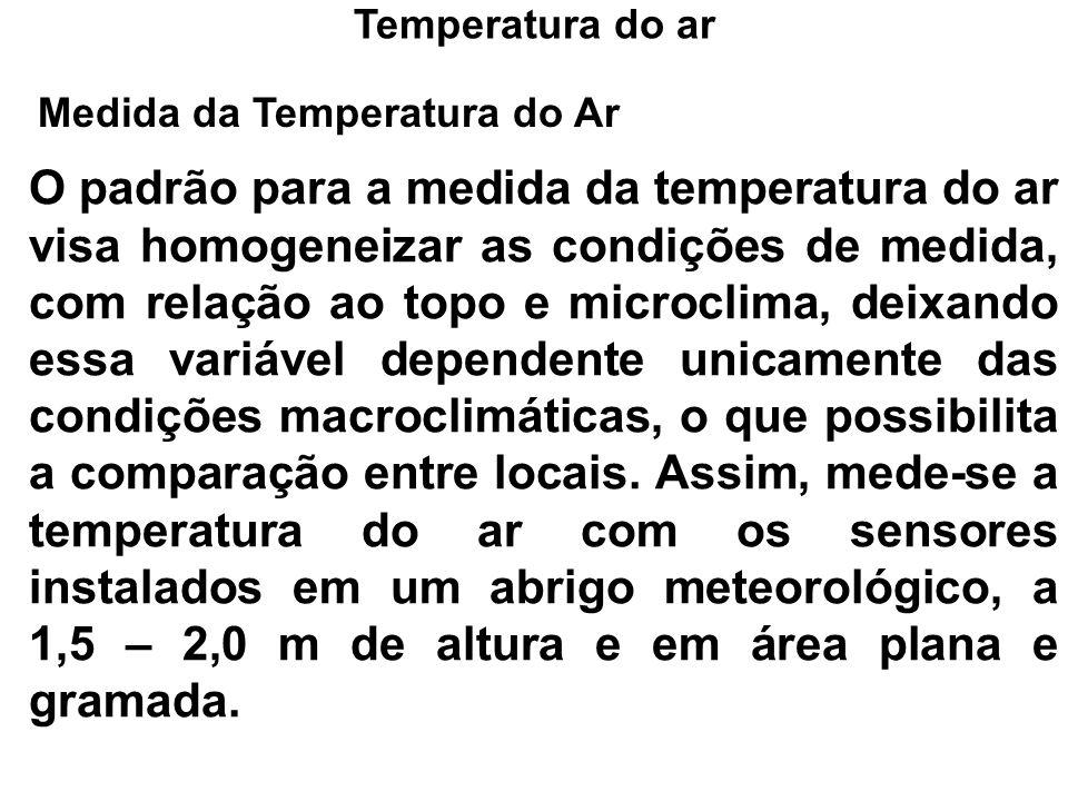 Medida da Temperatura do Ar O padrão para a medida da temperatura do ar visa homogeneizar as condições de medida, com relação ao topo e microclima, de