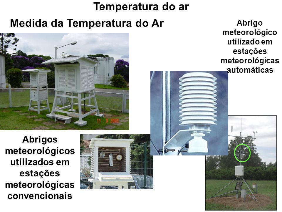 Medida da Temperatura do Ar Abrigos meteorológicos utilizados em estações meteorológicas convencionais Abrigo meteorológico utilizado em estações mete