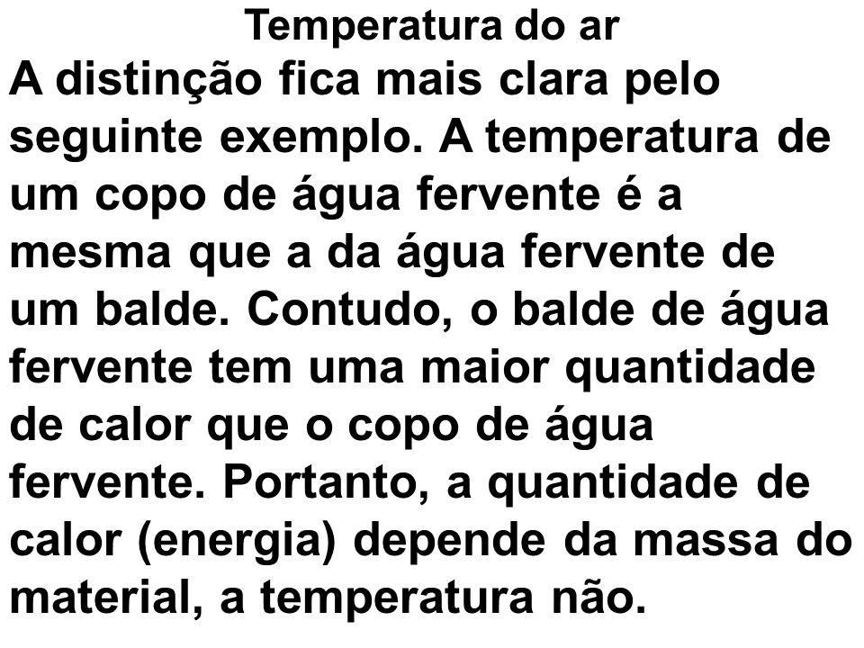 A distinção fica mais clara pelo seguinte exemplo. A temperatura de um copo de água fervente é a mesma que a da água fervente de um balde. Contudo, o