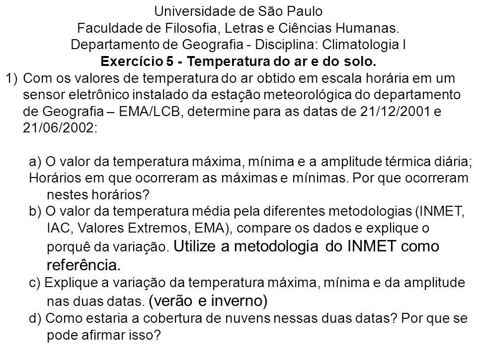 Universidade de São Paulo Faculdade de Filosofia, Letras e Ciências Humanas. Departamento de Geografia - Disciplina: Climatologia I Exercício 5 - Temp