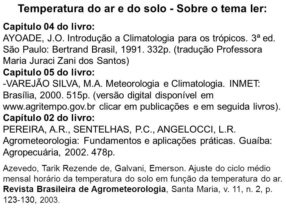 Temperatura do ar e do solo - Sobre o tema ler: Capitulo 04 do livro: AYOADE, J.O. Introdução a Climatologia para os trópicos. 3ª ed. São Paulo: Bertr