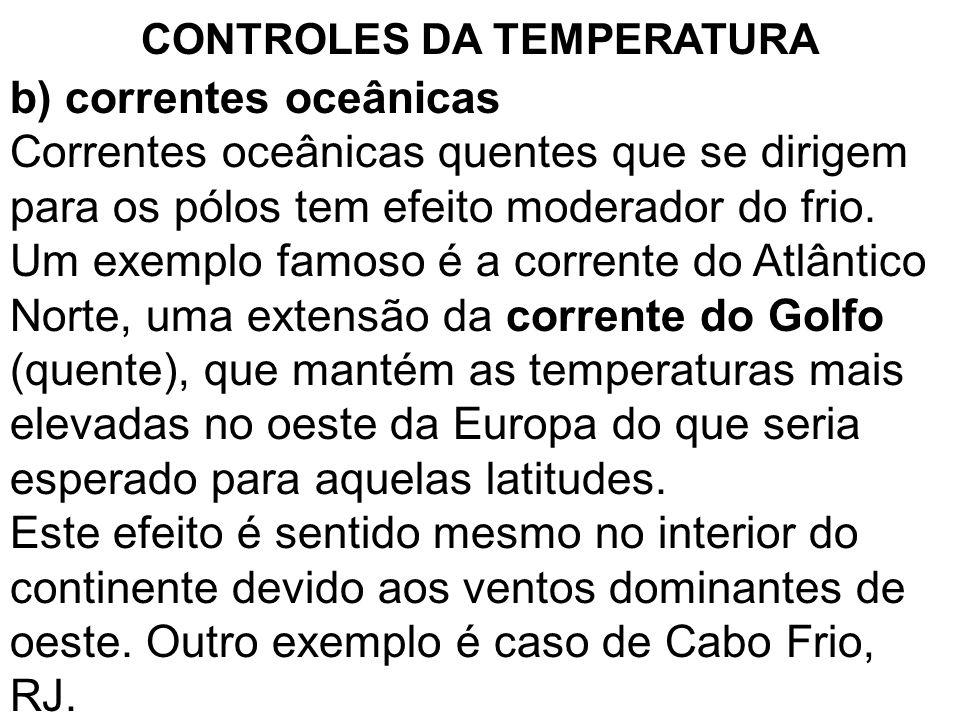 b) correntes oceânicas Correntes oceânicas quentes que se dirigem para os pólos tem efeito moderador do frio. Um exemplo famoso é a corrente do Atlânt