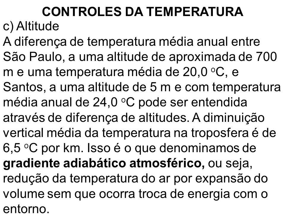 CONTROLES DA TEMPERATURA c) Altitude A diferença de temperatura média anual entre São Paulo, a uma altitude de aproximada de 700 m e uma temperatura m