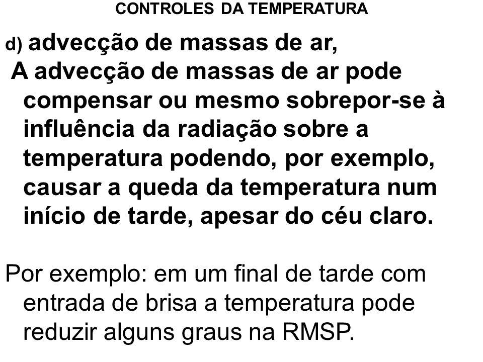 d) advecção de massas de ar, A advecção de massas de ar pode compensar ou mesmo sobrepor-se à influência da radiação sobre a temperatura podendo, por