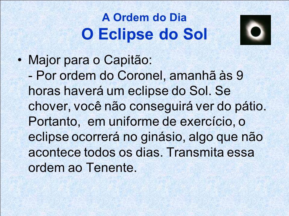 A Ordem do Dia O Eclipse do Sol O Coronel para o Major: - Amanhã, às 9 da manhã, haverá um eclipse do Sol, algo que não ocorre todos os dias. Providen