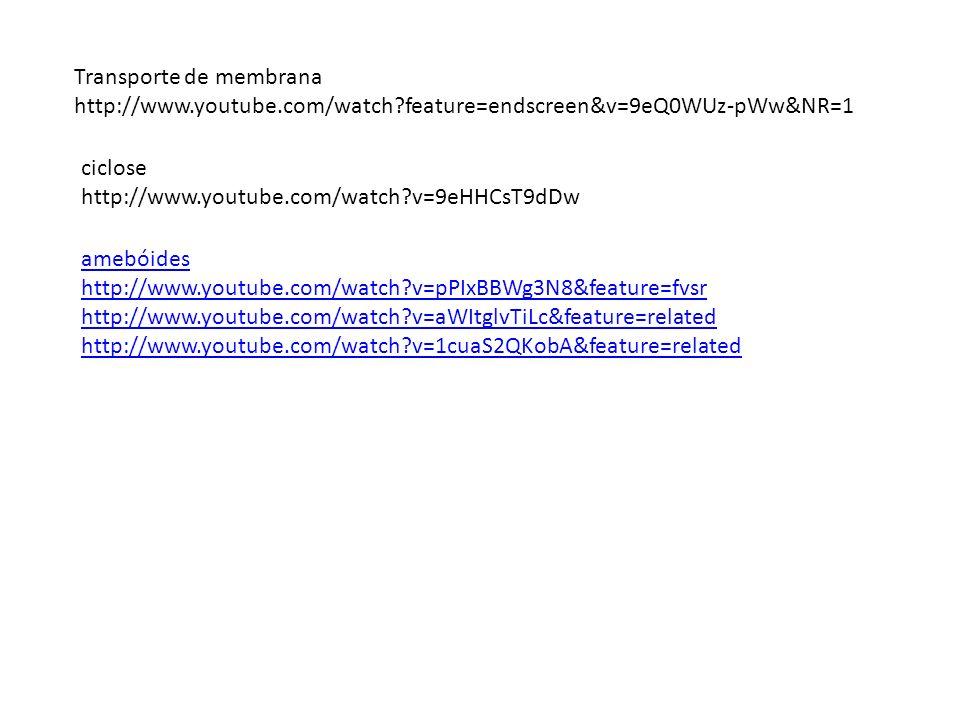 Transporte de membrana http://www.youtube.com/watch?feature=endscreen&v=9eQ0WUz-pWw&NR=1 ciclose http://www.youtube.com/watch?v=9eHHCsT9dDw amebóides