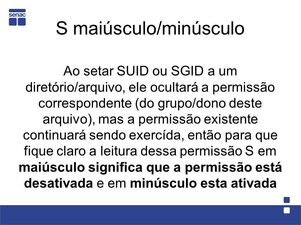 S maiúsculo/minúsculo Ao setar SUID ou SGID a um diretório/arquivo, ele ocultará a permissão correspondente (do grupo/dono deste arquivo), mas a permi