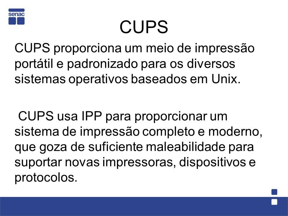 CUPS CUPS proporciona um meio de impressão portátil e padronizado para os diversos sistemas operativos baseados em Unix. CUPS usa IPP para proporciona