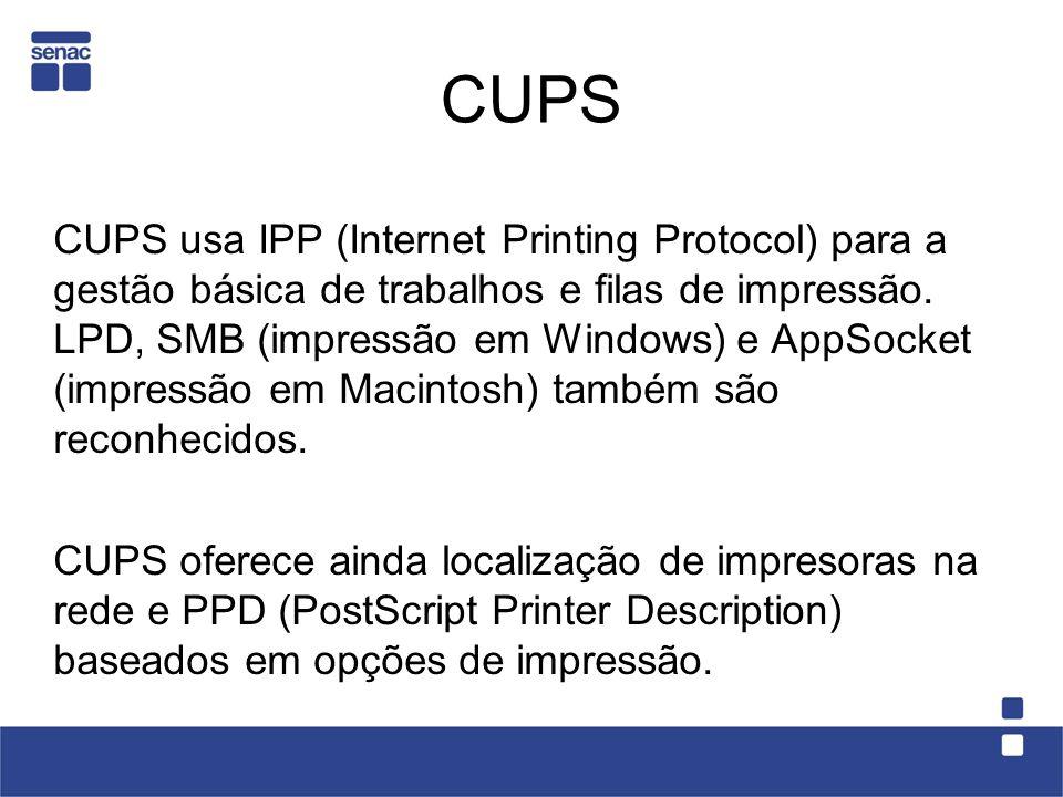 CUPS CUPS usa IPP (Internet Printing Protocol) para a gestão básica de trabalhos e filas de impressão. LPD, SMB (impressão em Windows) e AppSocket (im
