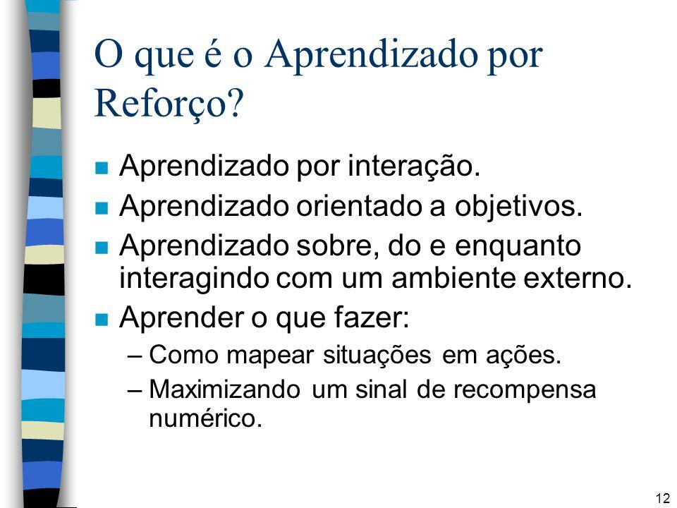 12 O que é o Aprendizado por Reforço? n Aprendizado por interação. n Aprendizado orientado a objetivos. n Aprendizado sobre, do e enquanto interagindo
