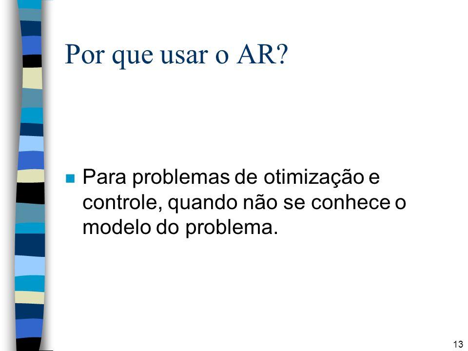 13 Por que usar o AR? n Para problemas de otimização e controle, quando não se conhece o modelo do problema.
