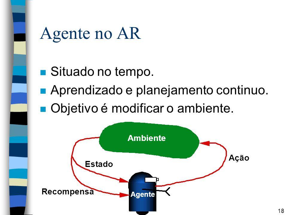 18 Agente no AR n Situado no tempo. n Aprendizado e planejamento continuo. n Objetivo é modificar o ambiente. Ambiente Ação Estado Recompensa Agente