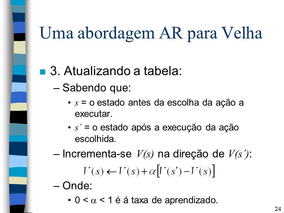 24 Uma abordagem AR para Velha n 3. Atualizando a tabela: –Sabendo que: s = o estado antes da escolha da ação a executar. s´ = o estado após a execuçã