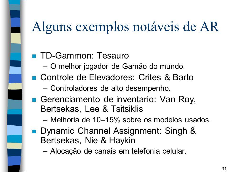 31 Alguns exemplos notáveis de AR n TD-Gammon: Tesauro –O melhor jogador de Gamão do mundo. n Controle de Elevadores: Crites & Barto –Controladores de