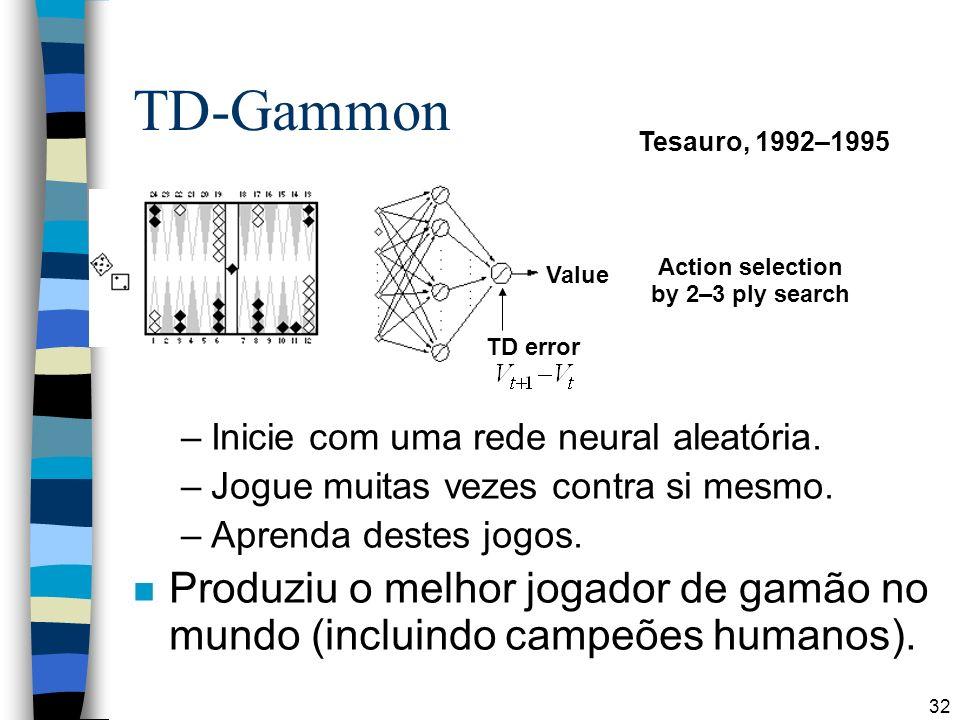32 TD-Gammon –Inicie com uma rede neural aleatória. –Jogue muitas vezes contra si mesmo. –Aprenda destes jogos. n Produziu o melhor jogador de gamão n