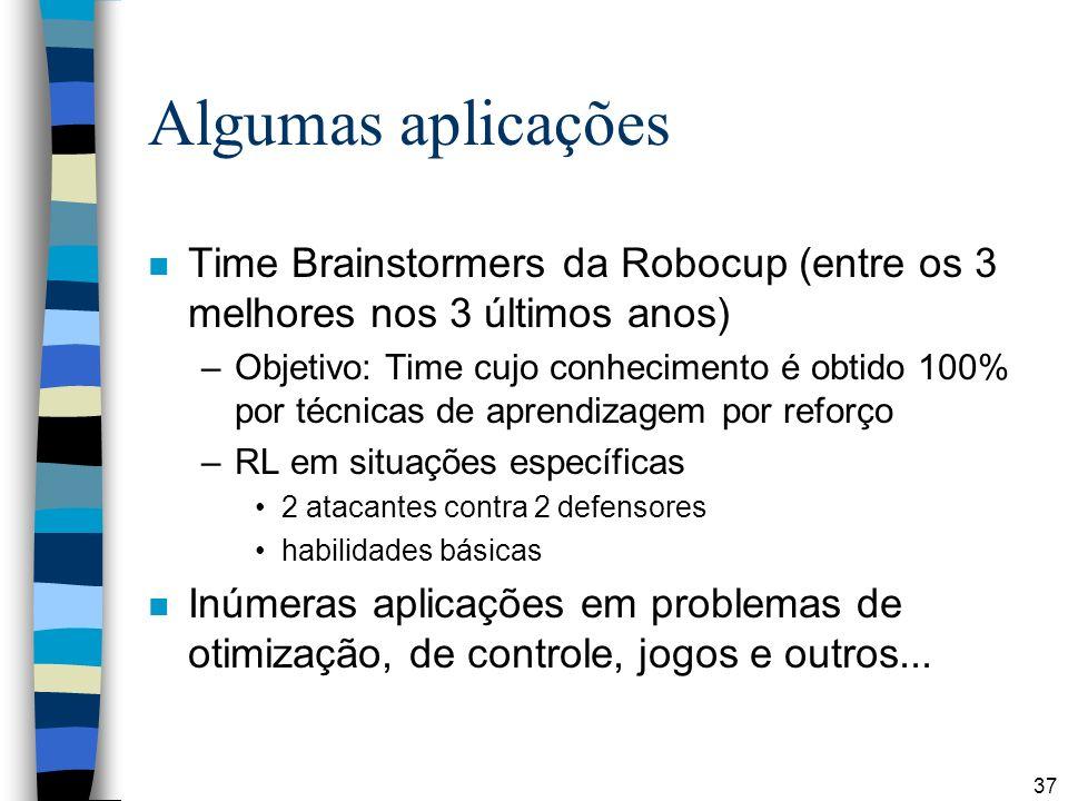 37 Algumas aplicações n Time Brainstormers da Robocup (entre os 3 melhores nos 3 últimos anos) –Objetivo: Time cujo conhecimento é obtido 100% por téc