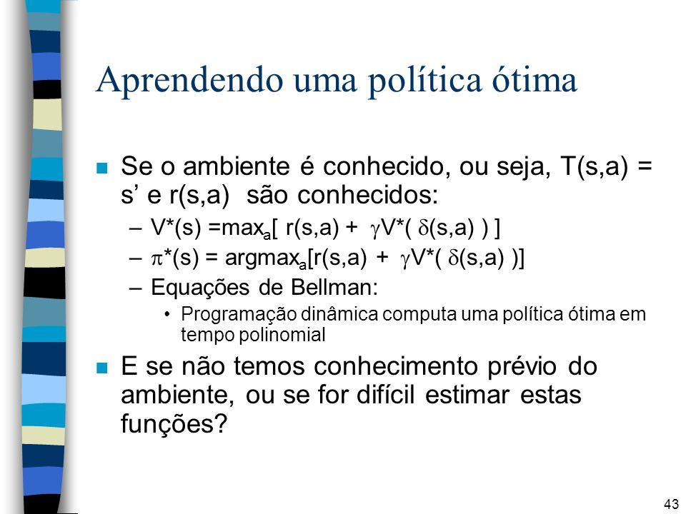 43 Aprendendo uma política ótima n Se o ambiente é conhecido, ou seja, T(s,a) = s e r(s,a) são conhecidos: –V*(s) =max a [ r(s,a) + V*( (s,a) ) ] – *(