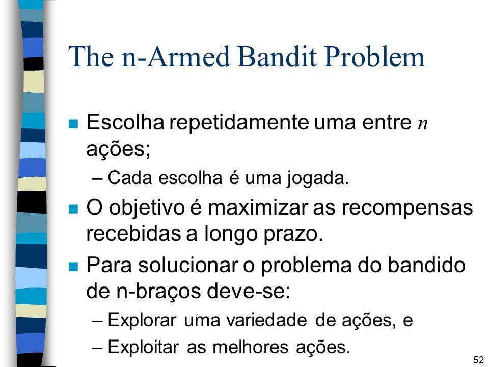52 The n-Armed Bandit Problem Escolha repetidamente uma entre n ações; –Cada escolha é uma jogada. n O objetivo é maximizar as recompensas recebidas a