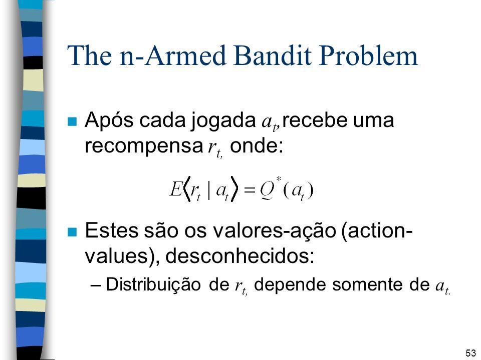 53 The n-Armed Bandit Problem Após cada jogada a t, recebe uma recompensa r t, onde: n Estes são os valores-ação (action- values), desconhecidos: –Distribuição de r t, depende somente de a t.