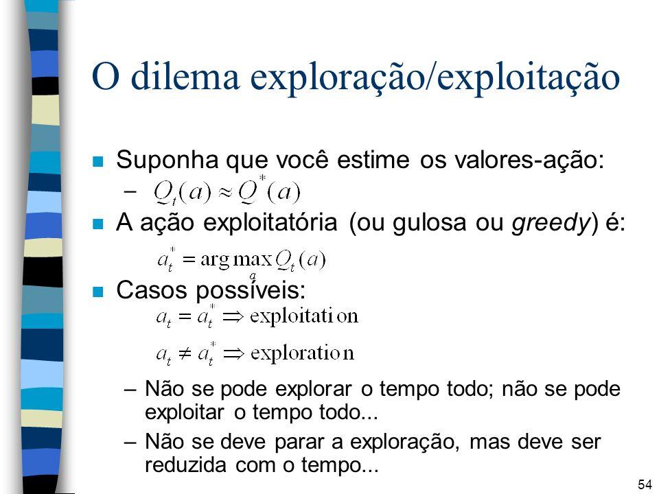 54 O dilema exploração/exploitação n Suponha que você estime os valores-ação: – n A ação exploitatória (ou gulosa ou greedy) é: n Casos possíveis: –Não se pode explorar o tempo todo; não se pode exploitar o tempo todo...
