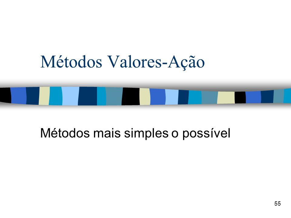 55 Métodos Valores-Ação Métodos mais simples o possível