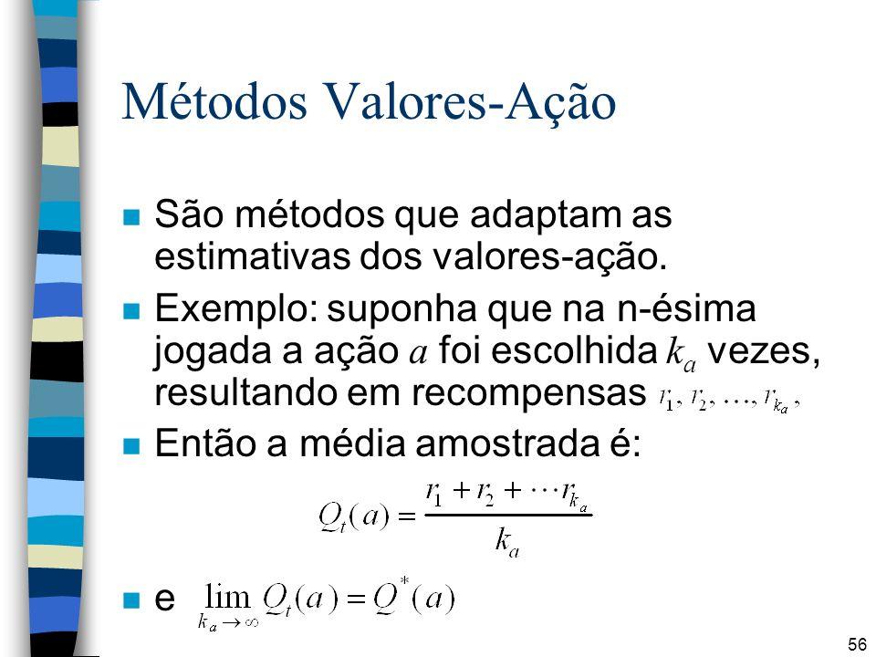 56 Métodos Valores-Ação n São métodos que adaptam as estimativas dos valores-ação. Exemplo: suponha que na n-ésima jogada a ação a foi escolhida k a v