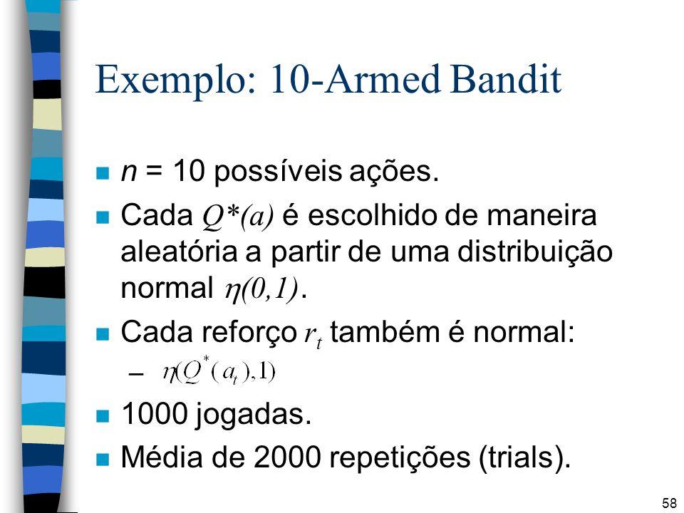 58 Exemplo: 10-Armed Bandit n n = 10 possíveis ações. Cada Q*(a) é escolhido de maneira aleatória a partir de uma distribuição normal (0,1). Cada refo