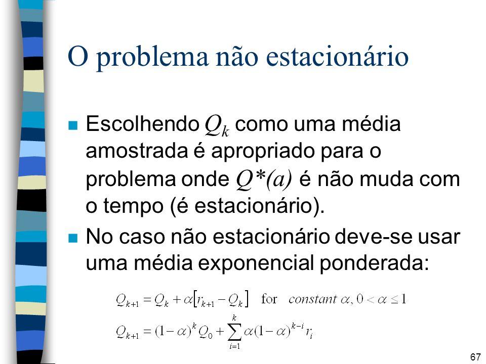 67 O problema não estacionário Escolhendo Q k como uma média amostrada é apropriado para o problema onde Q*(a) é não muda com o tempo (é estacionário)