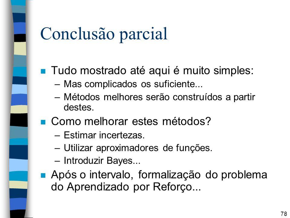 78 Conclusão parcial n Tudo mostrado até aqui é muito simples: –Mas complicados os suficiente... –Métodos melhores serão construídos a partir destes.