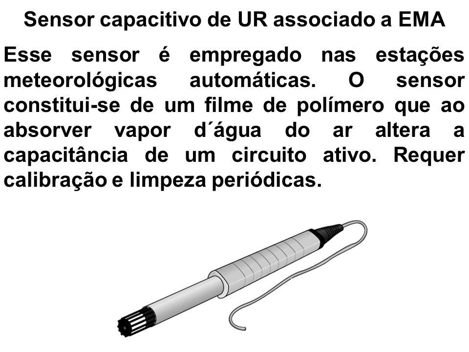 Sensor capacitivo de UR associado a EMA Esse sensor é empregado nas estações meteorológicas automáticas. O sensor constitui-se de um filme de polímero