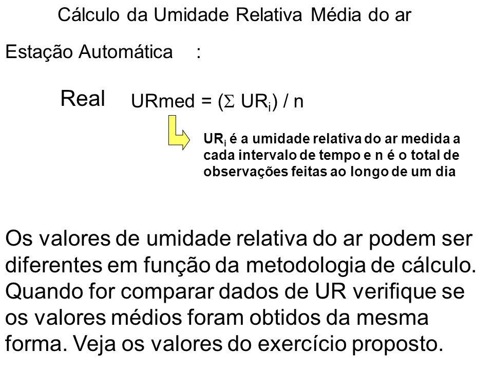 Cálculo da Umidade Relativa Média do ar URmed = ( UR i ) / n Estação Automática : Real UR i é a umidade relativa do ar medida a cada intervalo de temp