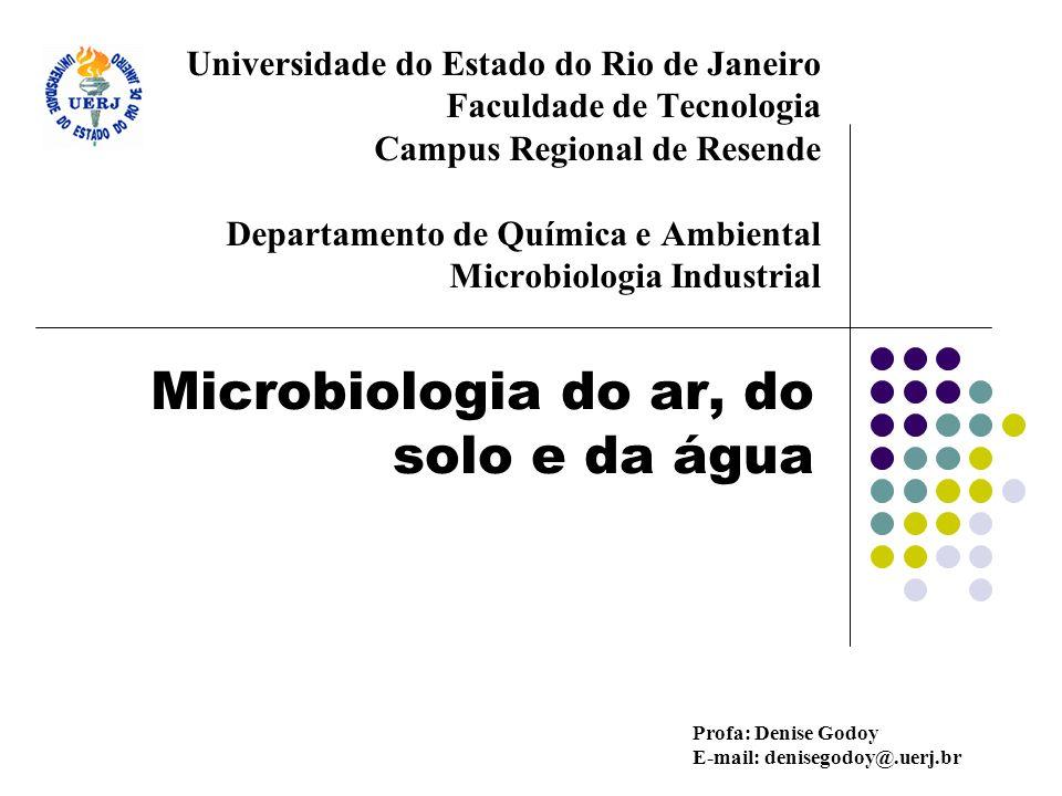 Técnicas de análise microbiológica do ar Uma variedade de técnicas tem sido desenvolvida com objetivo de se determinar o conteúdo microbiano em: hospitais, escolas, locais públicos e no ar livre (ETE e estações de compostagem)