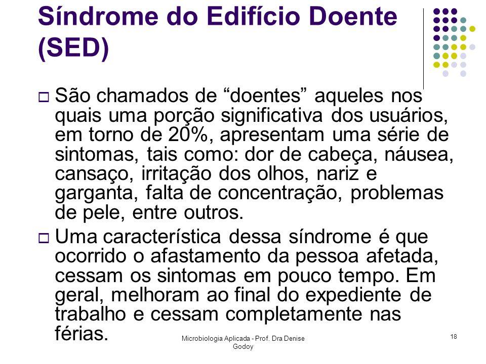 Síndrome do Edifício Doente (SED) São chamados de doentes aqueles nos quais uma porção significativa dos usuários, em torno de 20%, apresentam uma sér