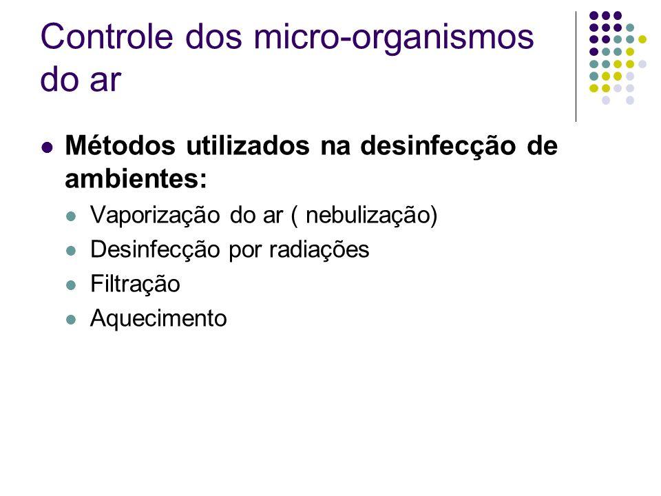 Controle dos micro-organismos do ar Métodos utilizados na desinfecção de ambientes: Vaporização do ar ( nebulização) Desinfecção por radiações Filtraç
