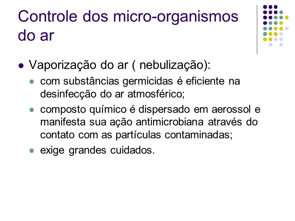 Controle dos micro-organismos do ar Vaporização do ar ( nebulização): com substâncias germicidas é eficiente na desinfecção do ar atmosférico; compost