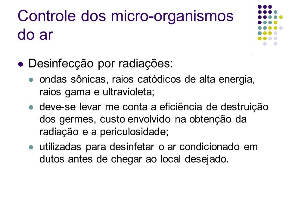 Controle dos micro-organismos do ar Desinfecção por radiações: ondas sônicas, raios catódicos de alta energia, raios gama e ultravioleta; deve-se leva