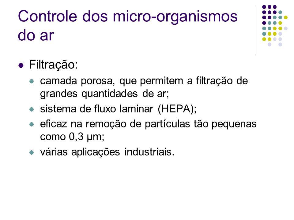 Controle dos micro-organismos do ar Filtração: camada porosa, que permitem a filtração de grandes quantidades de ar; sistema de fluxo laminar (HEPA);