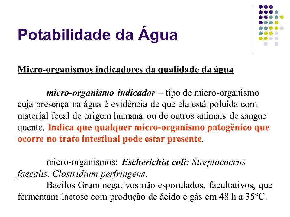 Potabilidade da Água Micro-organismos indicadores da qualidade da água micro-organismo indicador – tipo de micro-organismo cuja presença na água é evi