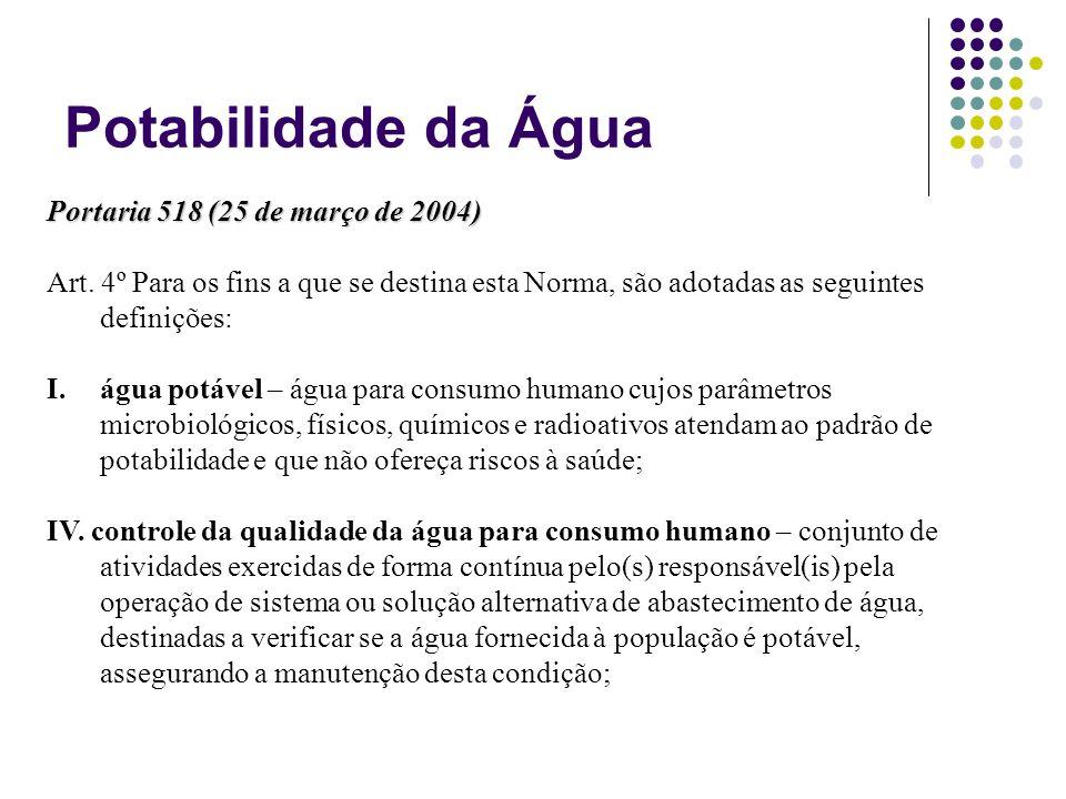 Potabilidade da Água Portaria 518 (25 de março de 2004) Art. 4º Para os fins a que se destina esta Norma, são adotadas as seguintes definições: I.água