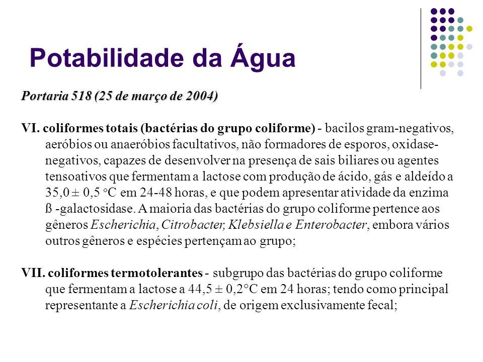 Potabilidade da Água Portaria 518 (25 de março de 2004) VI. coliformes totais (bactérias do grupo coliforme) - bacilos gram-negativos, aeróbios ou ana