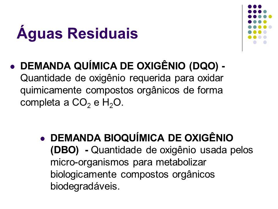 Águas Residuais DEMANDA QUÍMICA DE OXIGÊNIO (DQO) - Quantidade de oxigênio requerida para oxidar quimicamente compostos orgânicos de forma completa a