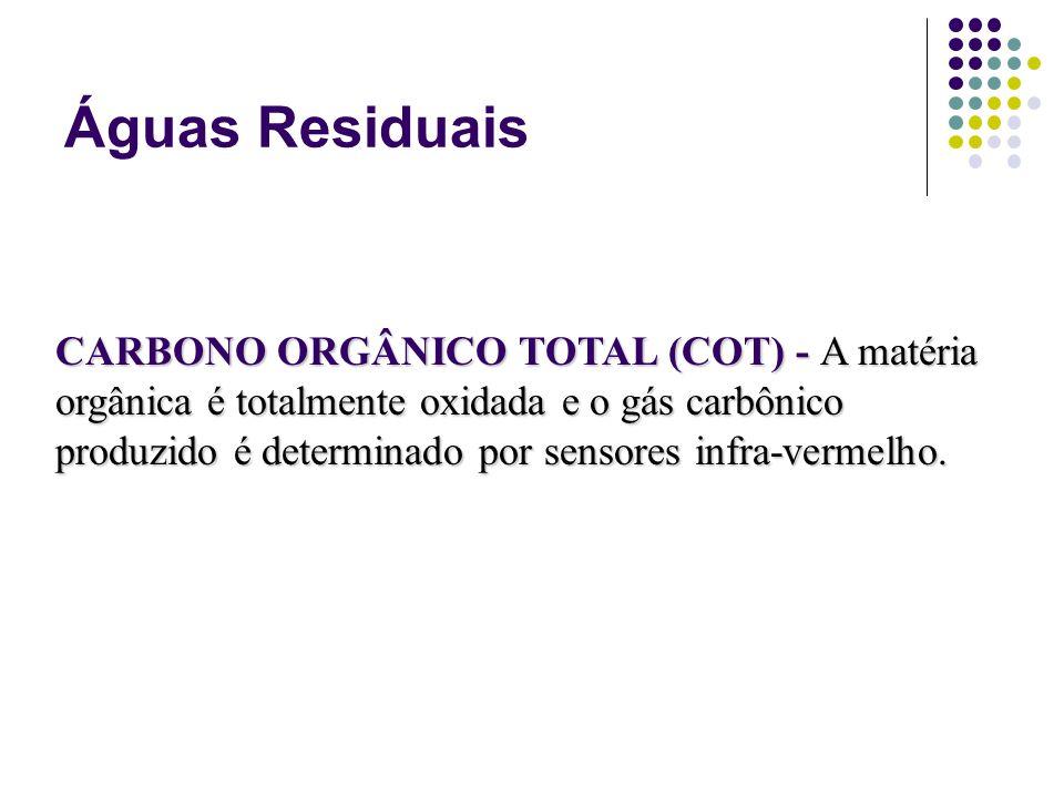 Águas Residuais CARBONO ORGÂNICO TOTAL (COT) - A matéria orgânica é totalmente oxidada e o gás carbônico produzido é determinado por sensores infra-ve