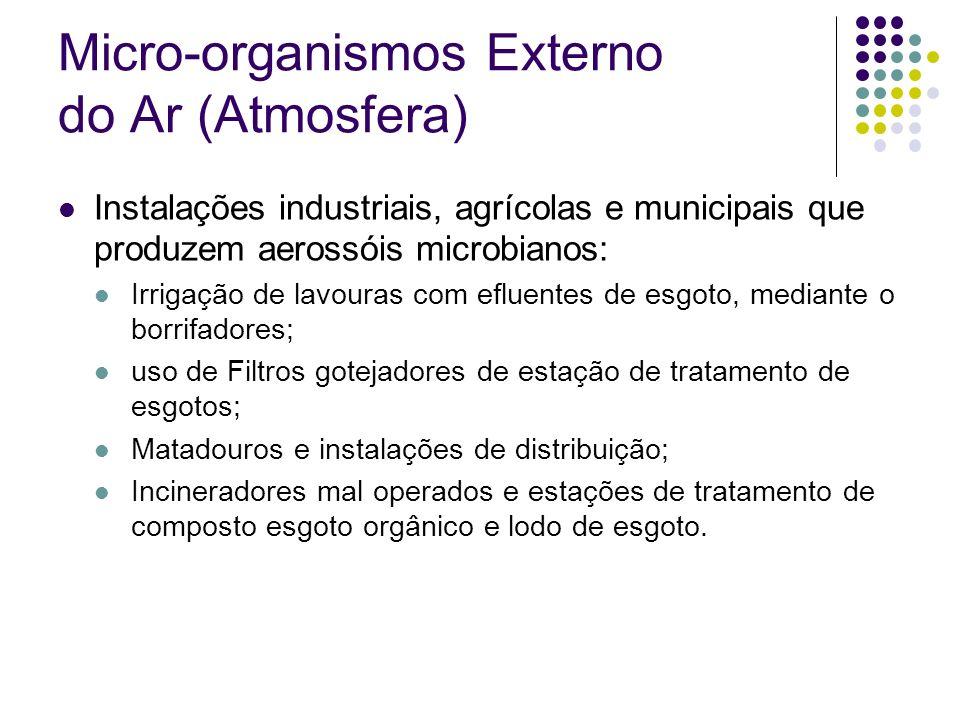 Micro-organismos Externo do Ar (Atmosfera) algas, protozoários, leveduras, bolores e bactérias; fungos predominantes: Cladosporium, Alternaria, Penicillium, Aspergillus, Pullularia e Agaricus; Esporos de bolores constituem a maior parte da microflora aérea; Bactérias: bacilos Gram-positivos esporulados (Bacillus) e não-esporulados (Kurthia), bacilos Gram negativos Alcaligenes) Gram positivos negativos (e cocos Gram-(Micrococus e Sarcina); Leveduras e actinomicetos têm sido detectados em alguns locais, mas em baixa porcentagem.